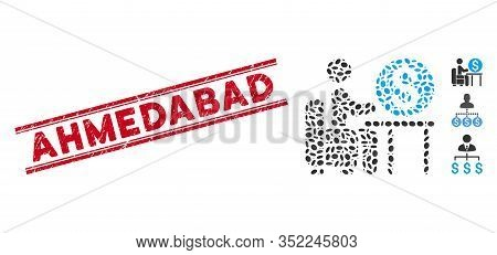 Rubber Red Stamp Seal With Ahmedabad Caption Between Double Parallel Lines, And Mosaic Banker Office
