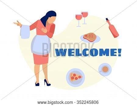Welcoming To Food Exhibition, Expo Culinary Stall Or Stand. Waitress Cartoon Character Invites Visit