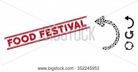 Rubber Red Stamp Seal With Food Festival Phrase Between Double Parallel Lines, And Collage Rotate Cc