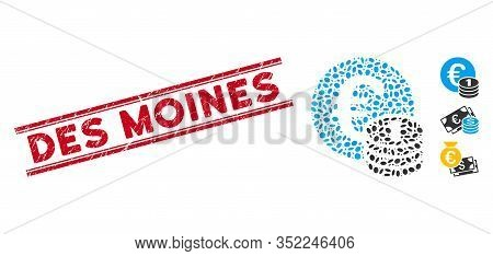 Corroded Red Stamp Seal With Des Moines Phrase Between Double Parallel Lines, And Mosaic One Euro Co