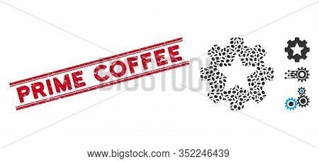Grunge Red Stamp Seal With Prime Coffee Phrase Inside Double Parallel Lines, And Mosaic Star Favorit