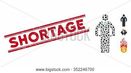 Rubber Red Stamp Watermark With Shortage Phrase Inside Double Parallel Lines, And Mosaic Bankrupt Ic