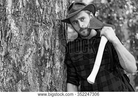 Lumberjack Worker Standing In The Forest With Axe. Lumberjack Holding The Axe. Strong Man Lumberjack