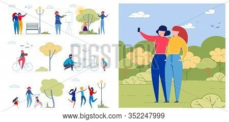 Outdoor Activities Flat Vector Illustrations Set. Friends And Families Spend Time Together. Children