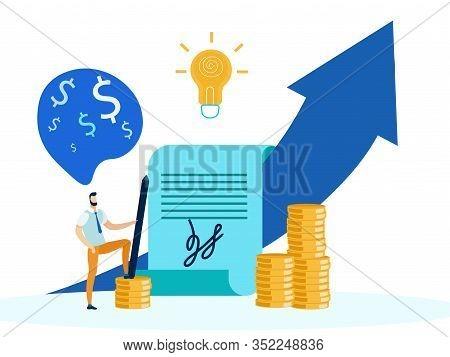 Financial Success Strategy Metaphor Illustration. Cartoon Man, Broker, Investor Having Income Increa