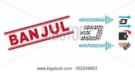 Grunge Red Stamp Seal With Banjul Text Inside Double Parallel Lines, And Collage Dash Send Arrows Ic