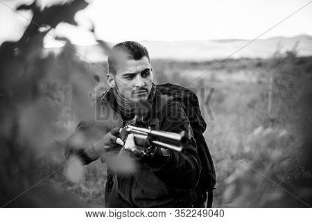 Autumn Hunting Season. Hunter In The Fall Hunting Season. Closed And Open Hunting Season. Hunting In
