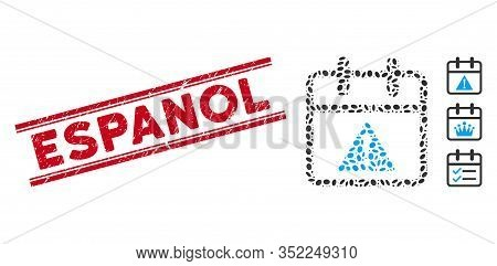 Rubber Red Stamp Seal With Espanol Text Between Double Parallel Lines, And Mosaic Problem Day Icon.