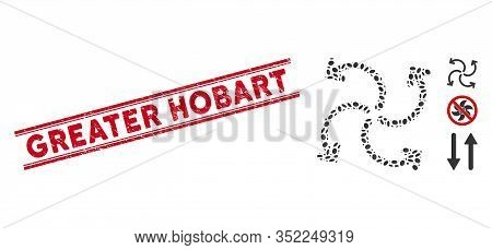 Rubber Red Stamp Seal With Greater Hobart Phrase Between Double Parallel Lines, And Mosaic Turbine R