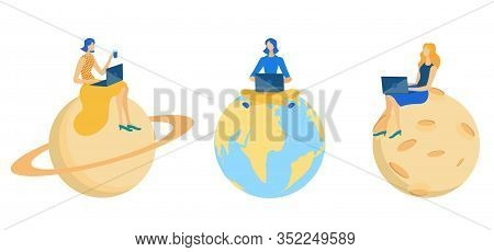 People Sitting On Different Planets And Working On Laptop Flat Cartoon Vector Illustration. Earth, S