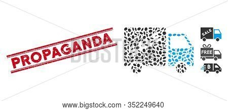 Distressed Red Stamp Watermark With Propaganda Text Inside Double Parallel Lines, And Mosaic Sale Va