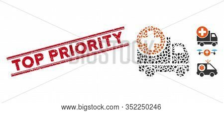 Rubber Red Stamp Seal With Top Priority Caption Inside Double Parallel Lines, And Mosaic Medical Del