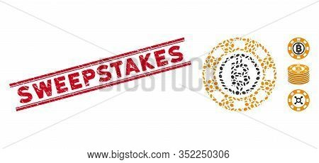 Rubber Red Stamp Watermark With Sweepstakes Caption Between Double Parallel Lines, And Collage Bitco