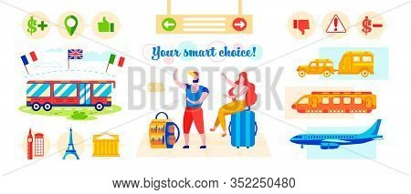 Inscription You Smart Choice. Vector Illustration. Man And Woman Prefer Bus Tours. People Are Sittin