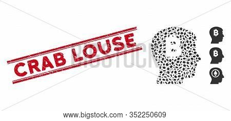 Grunge Red Stamp Watermark With Crab Louse Phrase Inside Double Parallel Lines, And Mosaic Mental Bi