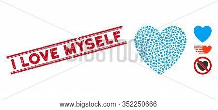 Grunge Red Stamp Seal With I Love Myself Caption Between Double Parallel Lines, And Mosaic Love Hear
