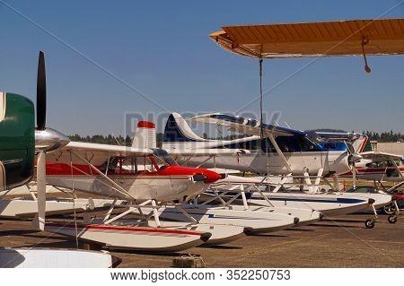 Washington Airport. A Row Of Seaplanes On The Apron.