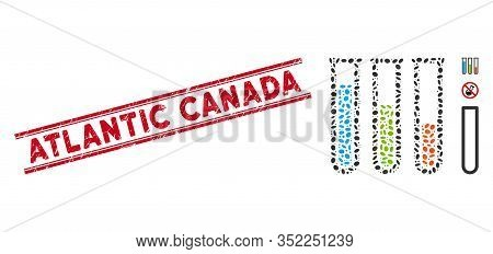 Grunge Red Stamp Seal With Atlantic Canada Text Inside Double Parallel Lines, And Collage Chemical A
