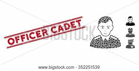 Distressed Red Stamp Watermark With Officer Cadet Phrase Between Double Parallel Lines, And Mosaic O
