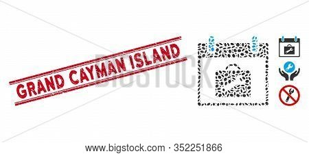 Distressed Red Stamp Seal With Grand Cayman Island Caption Inside Double Parallel Lines, And Collage