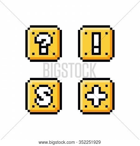 Pixel Art 8 Bit Icon Set - Yellow Golden Box With Question Mark, Exclamation Mark, Letter S And Plus