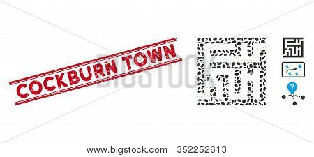 Distressed Red Stamp Seal With Cockburn Town Caption Between Double Parallel Lines, And Mosaic Labyr