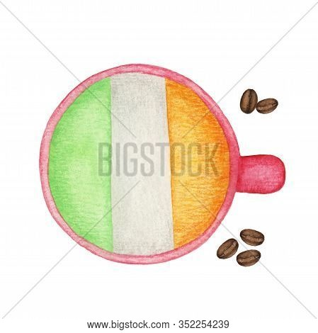 Cup With Irish Coffee. A Cup Of Coffee In The Colors Of The Irish Flag. Funny Watercolor Illustratio