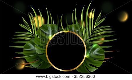 Tropical Leaves. Jungle Background Flower And Palm. Vector Jungle Illustration. Green Tropical Leave