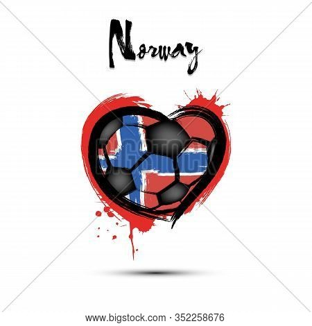 Abstract Soccer Ball Shaped As A Heart Painted In The Colors Of The Norway Flag. Flag Norway In The