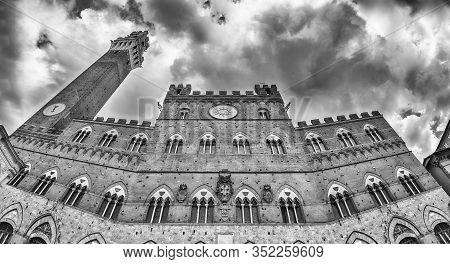 View Of Palazzo Pubblico - Aka Town Hall - And The Torre Del Mangia Medieval Tower, Iconic Landmarks