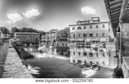 The Iconic Medieval Thermal Baths, Major Landmark And Sightseeing In The Town Of Bagno Vignoni, Prov