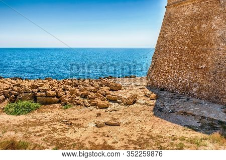 View Of The Scenic Aragonese Castle, Aka Le Castella, On The Ionian Sea In The Town Of Isola Di Capo