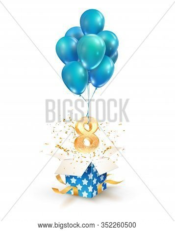 Open Textured Gift Box With Number 8 Th Flying On Balloons. Eight Years Celebrations. Greeting Of Ei