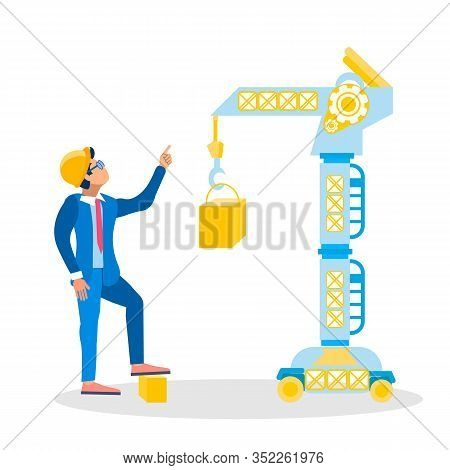 Construction Site Inspector Vector Illustration. Architect, Foreman In Hardhat Giving Orders Cartoon