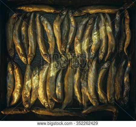 Capelin Fish In A Kitchen Pan Before Frying