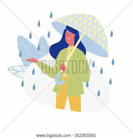 Smiling Woman With Dotted Bright Umbrella Standing At Rain Isolated On White Background Catching Wat