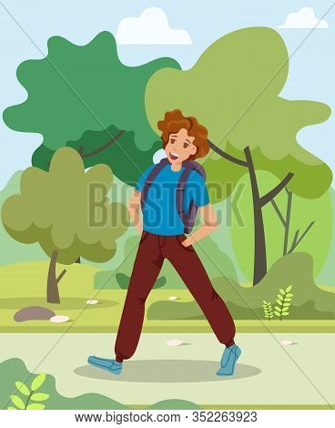 Informational Flyer Guy Walks In Park Cartoon. Informative Banner Sports Guy Walking In Park With Ba