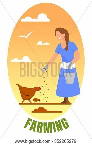 Farming Banner. Young Woman In Working Robe With Bucket Feeding Chicken. Girl Care Of Fowl On Farm,