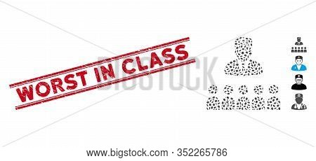 Grunge Red Stamp Watermark With Worst In Class Text Inside Double Parallel Lines, And Mosaic Doctor