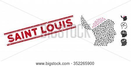 Grunge Red Stamp Seal With Saint Louis Caption Between Double Parallel Lines, And Mosaic Open Brain