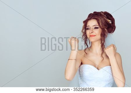 Happy Bride Woman Exults Pumping Fists Ecstatic Celebrates Success Happy Of Getting Married Isolated