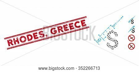 Grunge Red Stamp Seal With Rhodes, Greece Caption Inside Double Parallel Lines, And Collage Narcotic