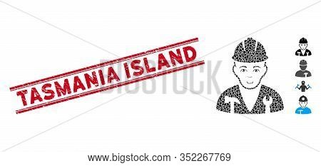 Grunge Red Stamp Watermark With Tasmania Island Caption Between Double Parallel Lines, And Mosaic Se