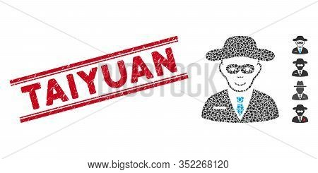 Rubber Red Stamp Seal With Taiyuan Text Inside Double Parallel Lines, And Mosaic Security Agent Icon