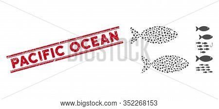 Corroded Red Stamp Seal With Pacific Ocean Text Inside Double Parallel Lines, And Mosaic Fish Pair I