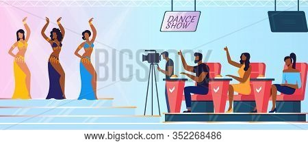 Amateur Talent Contest Flat Vector Illustration. Young Dancers Group And Judges Sitting In Chairs Ca