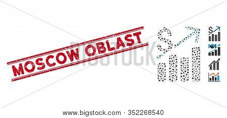 Grunge Red Stamp Watermark With Moscow Oblast Text Inside Double Parallel Lines, And Mosaic Financia