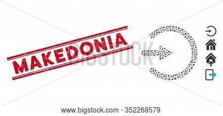 Rubber Red Stamp Seal With Makedonia Text Between Double Parallel Lines, And Mosaic Entrance Icon. M