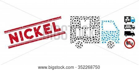 Grunge Red Stamp Seal With Nickel Phrase Inside Double Parallel Lines, And Collage Goods Transportat