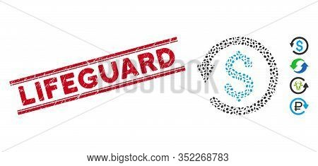 Grunge Red Stamp Watermark With Lifeguard Phrase Between Double Parallel Lines, And Mosaic Chargebac